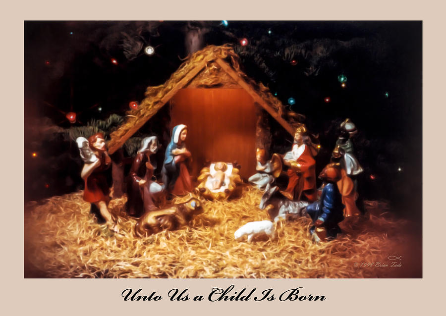 Nativity Scene Greeting Card by Brian Tada