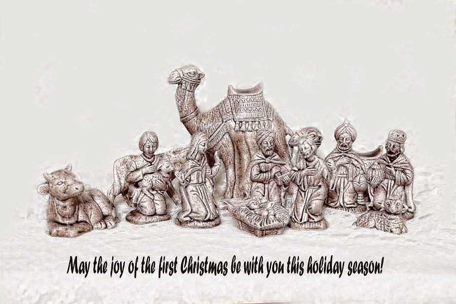 Holiday Photograph - Nativity Scene In Sepia by Linda Phelps