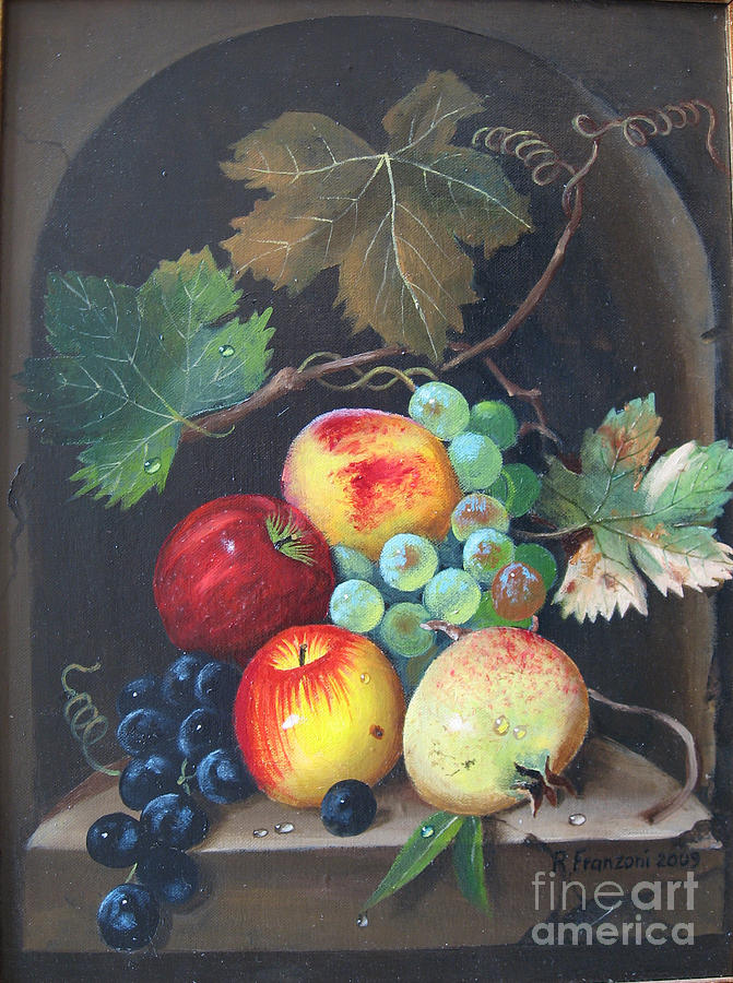 Still Life Painting - Natura Morta Con Frutta by Riccardo Franzoni