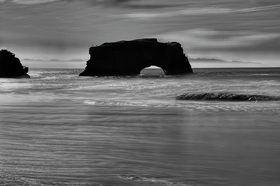 Natural Bridges State Beach Water b/w by Wes Jimerson