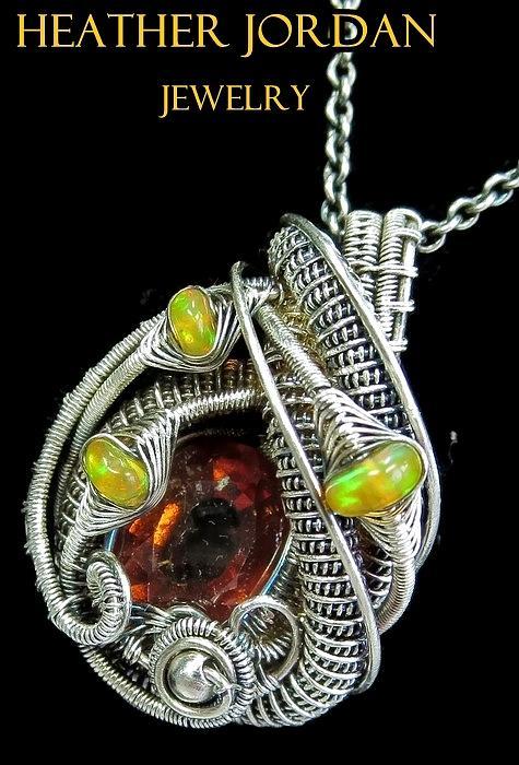 Hessonite Garnet /& Ethiopian Opal wire wrapped Pendant