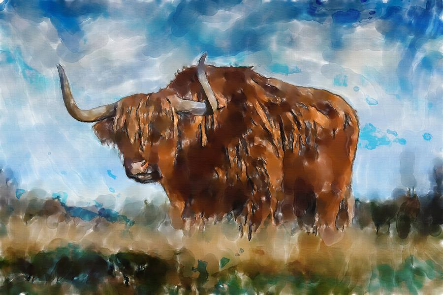 Nature animals horns bison watercolor by Mustapha Dazi