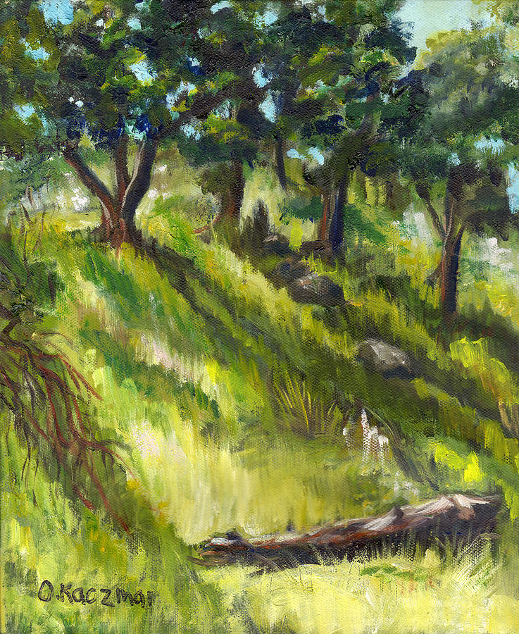 Landscape Painting - Nature Center Log by Olga Kaczmar