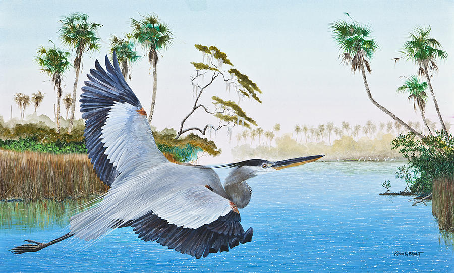 Blue Heron Painting - Nature Coast 2 by Kevin Brant