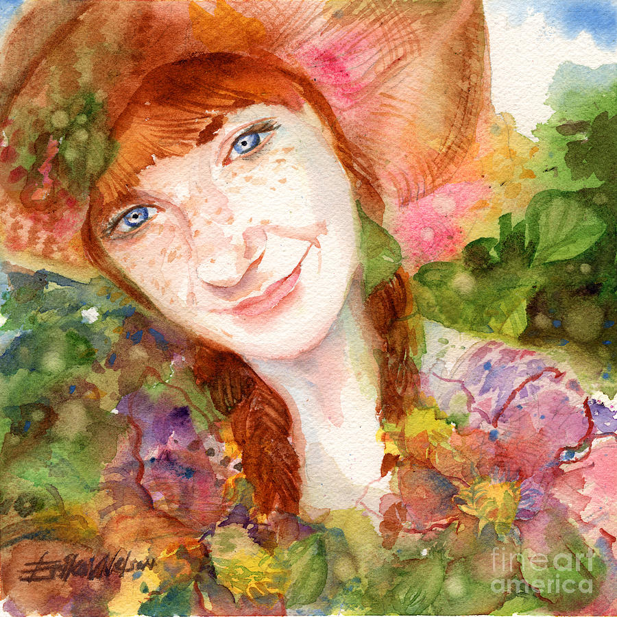 Redhead Painting - Nature Girl by Erika Nelson