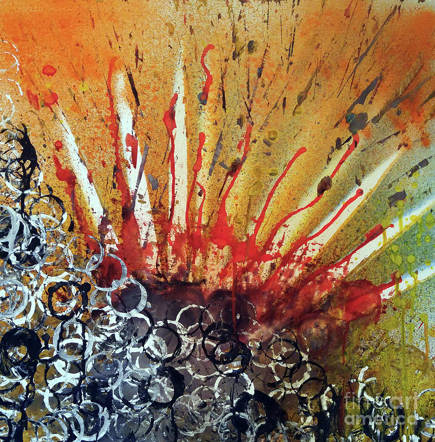 Ink Painting - Nature is life Life is nature Be bright Be bold series by Michael Rados