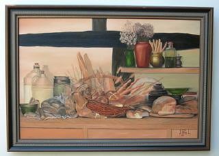 Still Life Painting - Nature Morte - Miches De Pain by Jean-pierre Loiselle