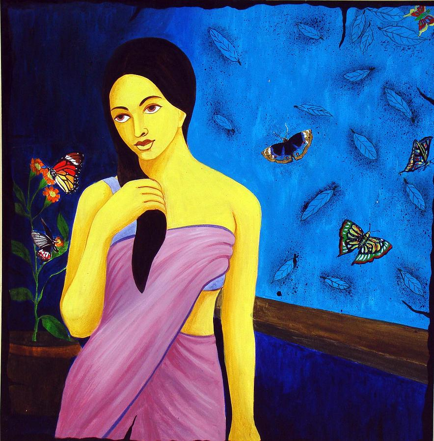 Woman Painting - Nature With Woman by Hemanta Sur