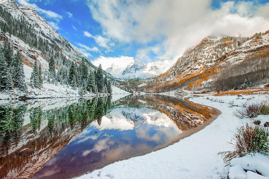 Natures Divine Canvas - Maroon Bells Aspen Colorado by Gregory Ballos