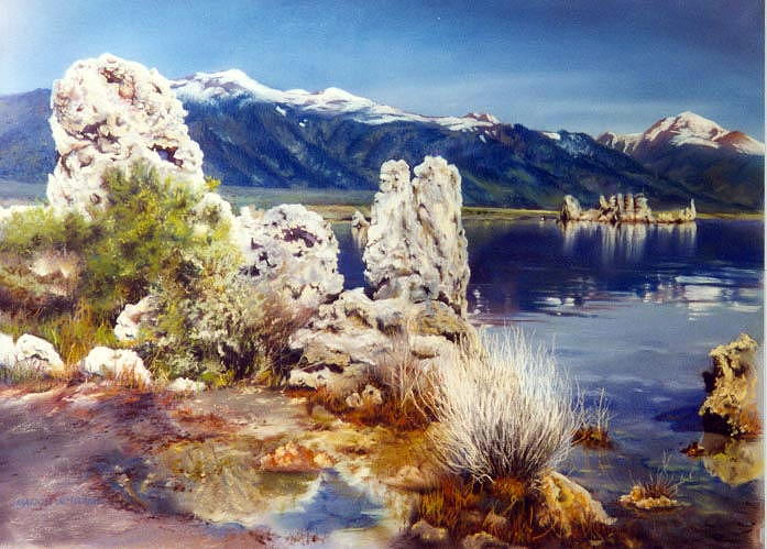 Lake Painting - Natures Ghosts by Marion  Hylton