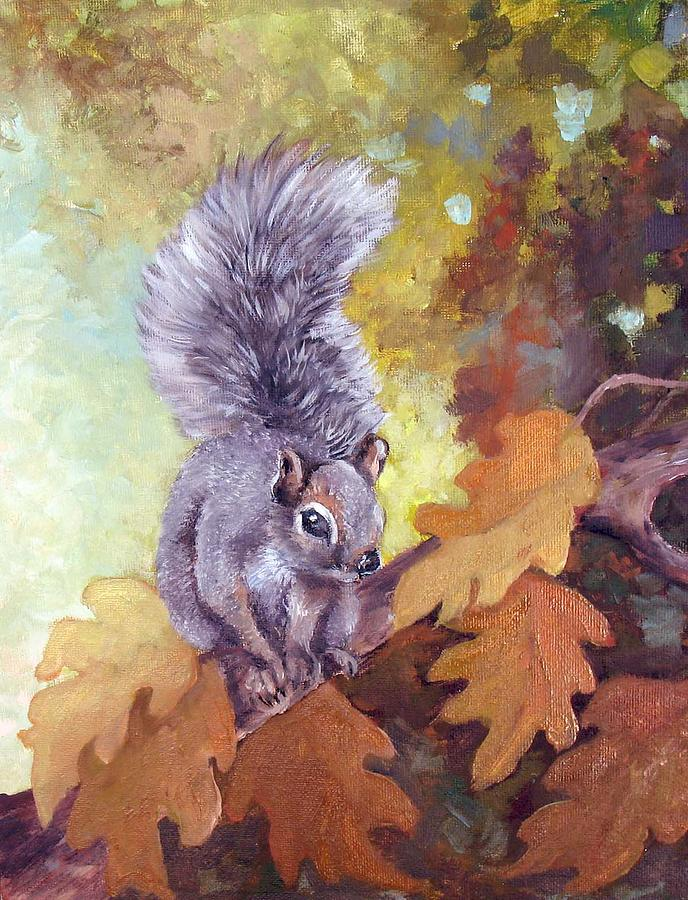 Pine Squirrel Painting - Natures Guardian by Audie Yenter