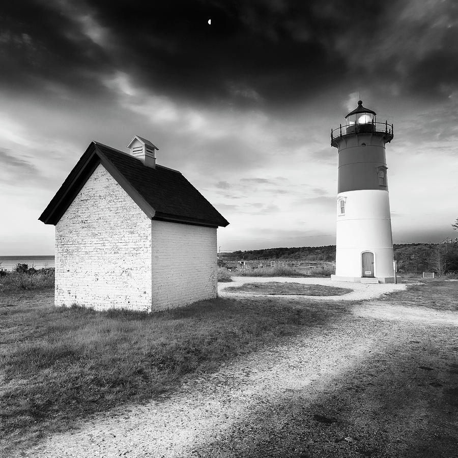 Nauset Light - Black and White Lighthouse by Dapixara Art