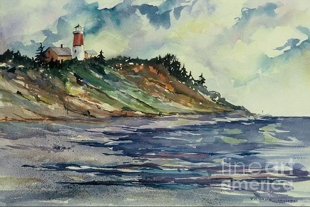 Watercolor Painting - Nauset Lighthouse by Richard Jansen