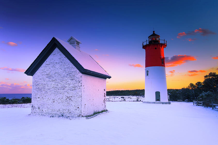 Nauset Lighthouse Sunset,  First Snow by Dapixara Art