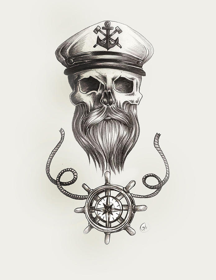 Nautical shower curtain ideas - Nautical Bearded Skull Painting By Jasmine Mills