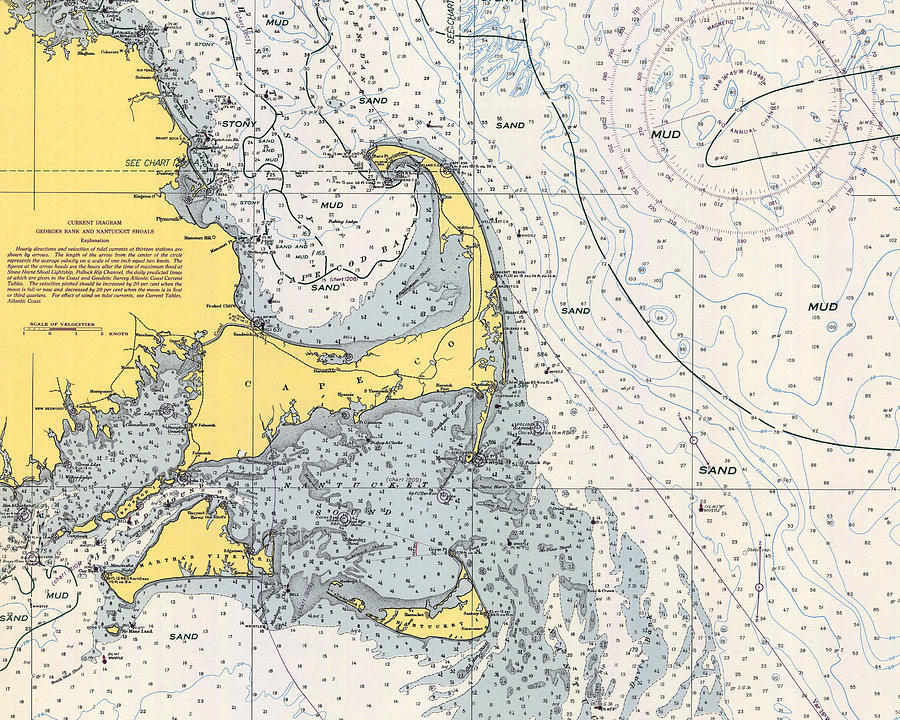 Vintage Cape Cod Nautical Chart 1945h by Paul and Janice Russell