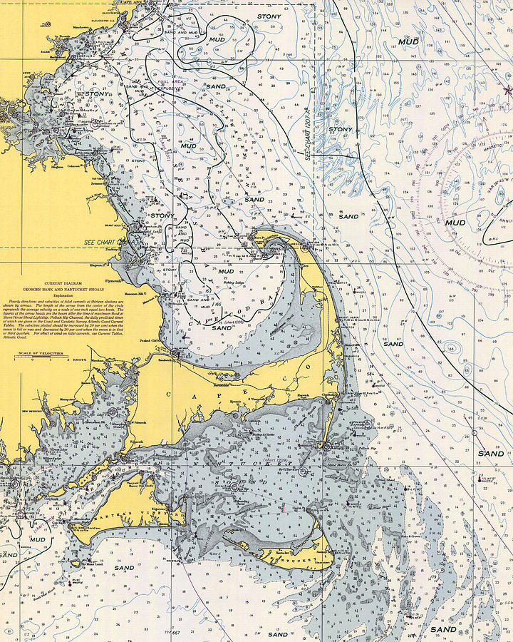 Vintage Cape Cod Nautical Chart 1945V by Paul and Janice Russell