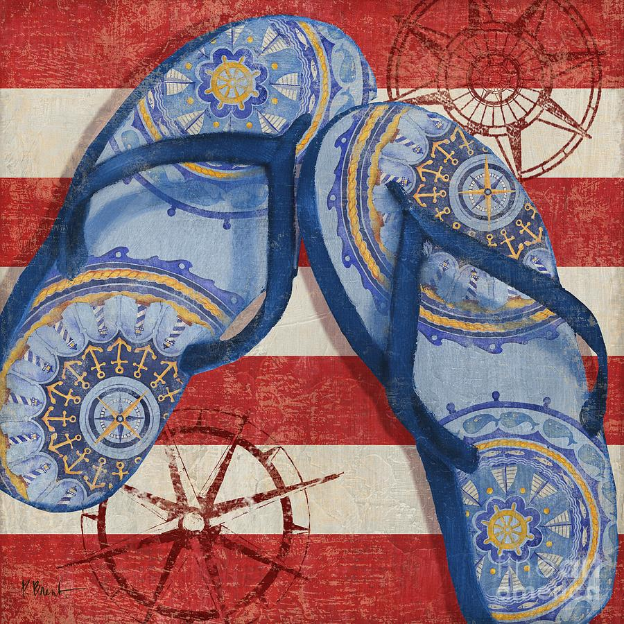 Nautical Painting - Nautical Flip Flops II by Paul Brent