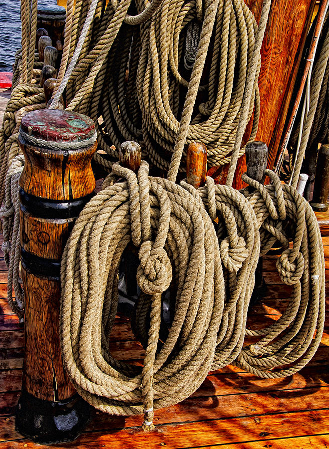 Boat Photograph - Nautical Knots 17 Oil by Mark Myhaver
