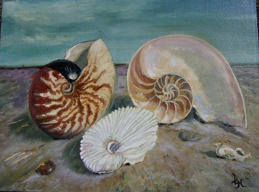 Shells Painting - Nautilus And Friends by Darlene LeVasseur