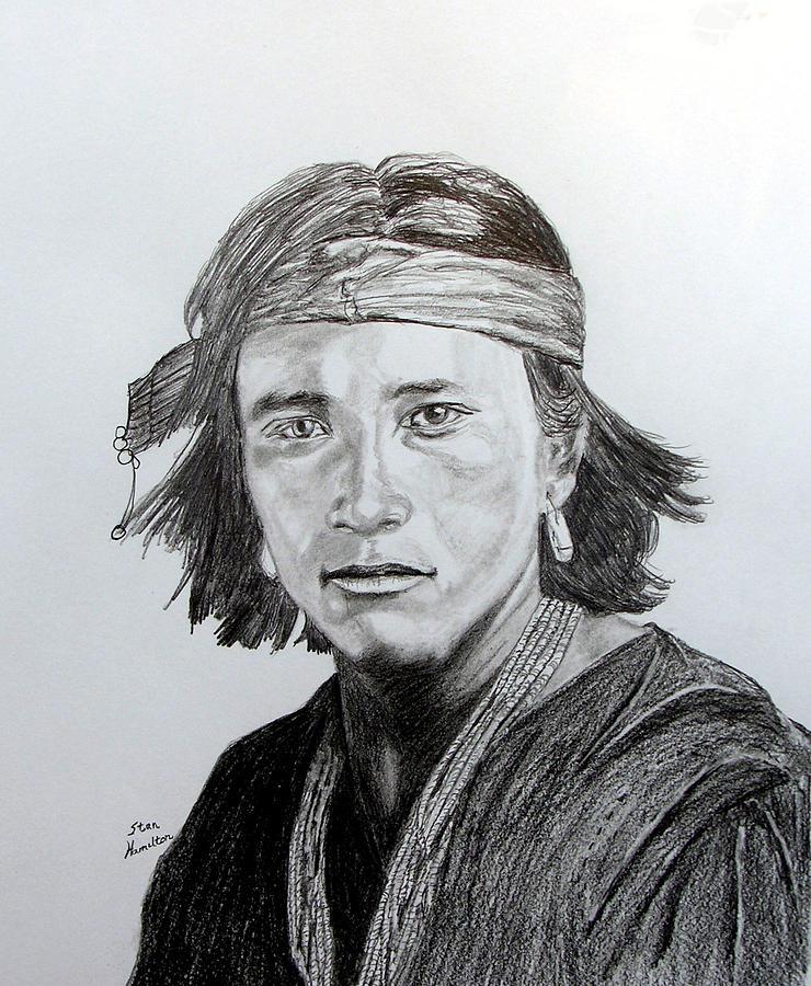 Pencil Drawing - Navaj Brave by Stan Hamilton