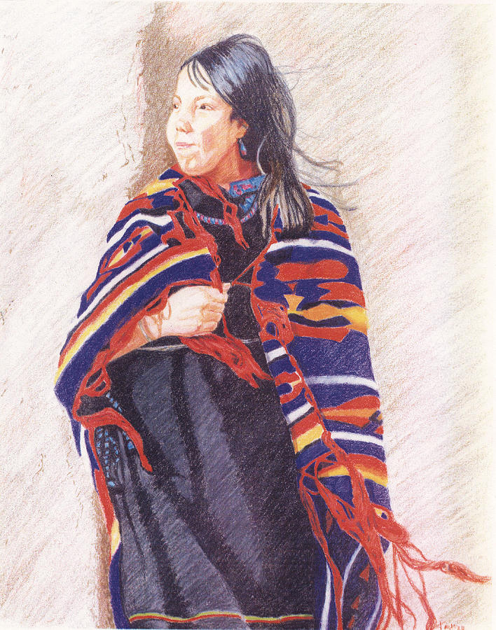Pencils Drawing - Navajo Girl by Karen Clark