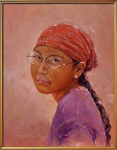 Navajo Painting - Navajo Girl With Silver Earring by Karl Eric Leitzel