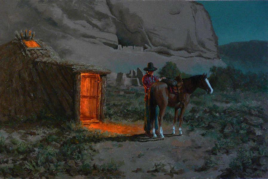 Navajo Painting - Navajo Hogan by John T Jones