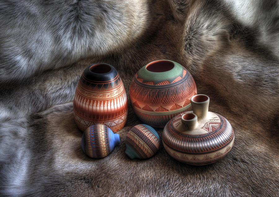 Navajo Photograph - Navajo Pottery by Merja Waters