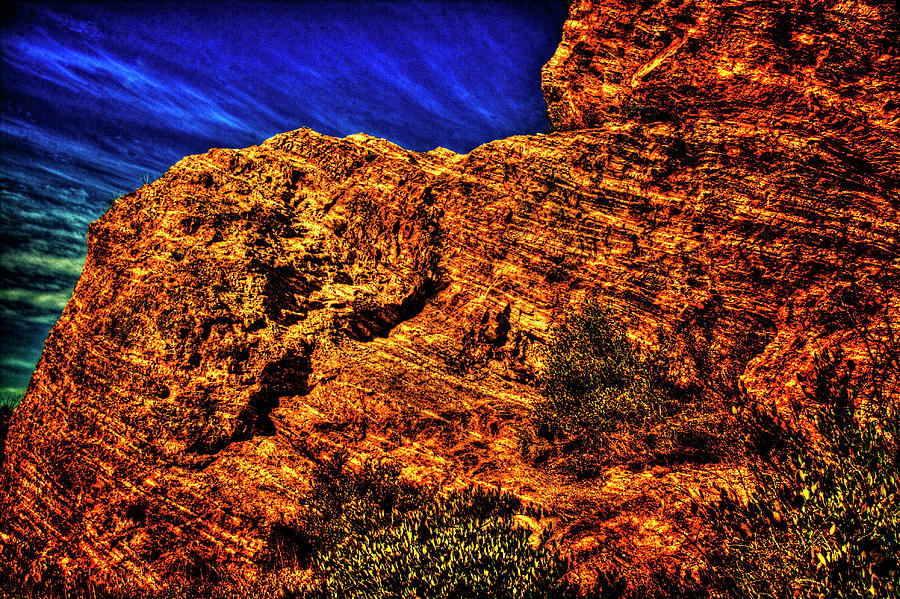 Navajo Sandstone And Cirrus Clouds Photograph