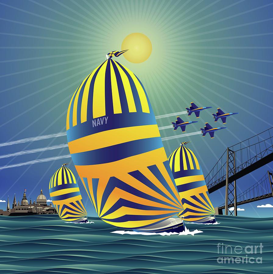 Chesapeake Bay Digital Art - Naval Academy High Noon Sails by Joe Barsin