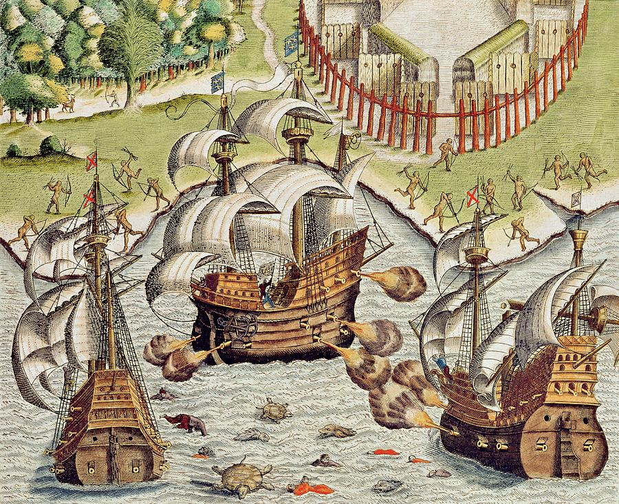 Naval Painting - Naval Battle Between The Portuguese And French In The Seas Off The Potiguaran Territories by Theodore de Bry