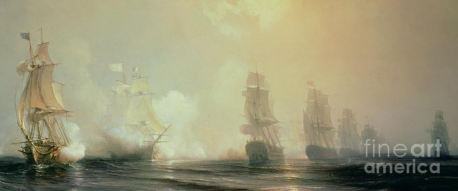 Boat Painting - Naval Battle In Chesapeake Bay by Jean Antoine Theodore Gudin