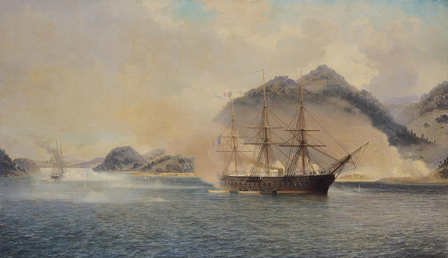 Naval Painting - Naval Battle Of The Strait Of Shimonoseki by Jean Baptiste Henri Durand Brager