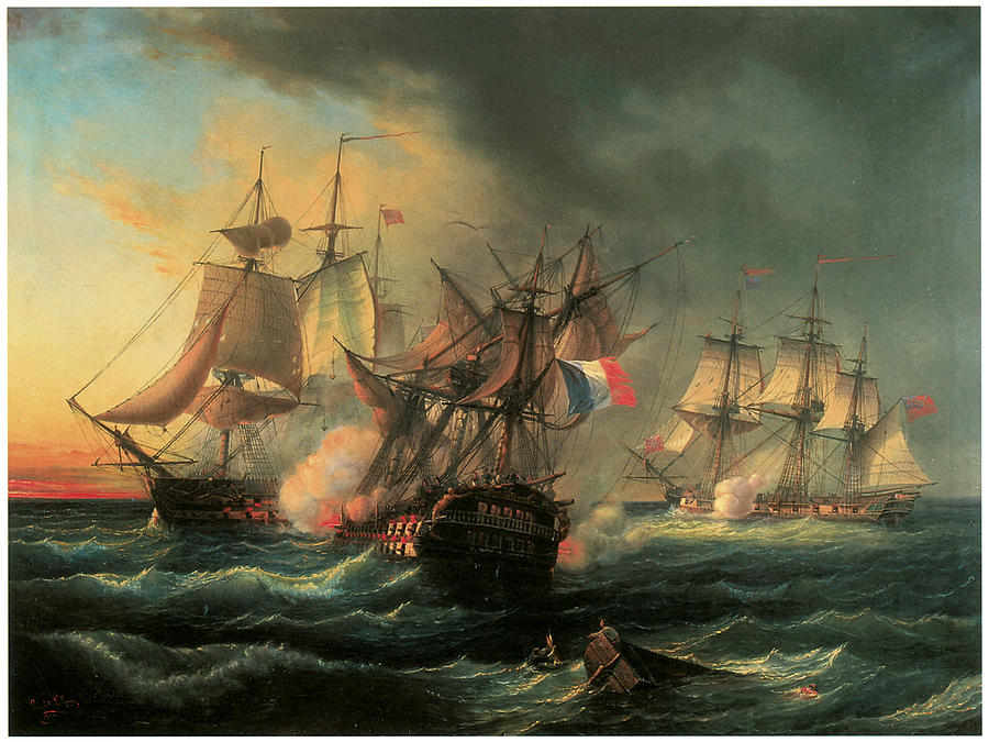Frigate Painting - Naval Combat Between The Rights Of Man And The English Vessel Indefatigable And The Frigate Amazon by Leopold Le Guen