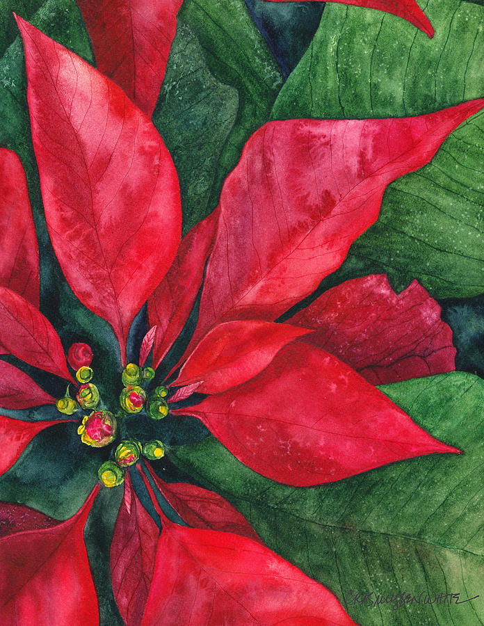 Watercolor Painting - Navidad by Casey Rasmussen White