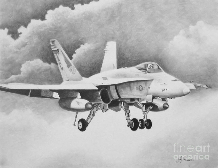F-18 Drawing - Navy Hornet by Stephen Roberson