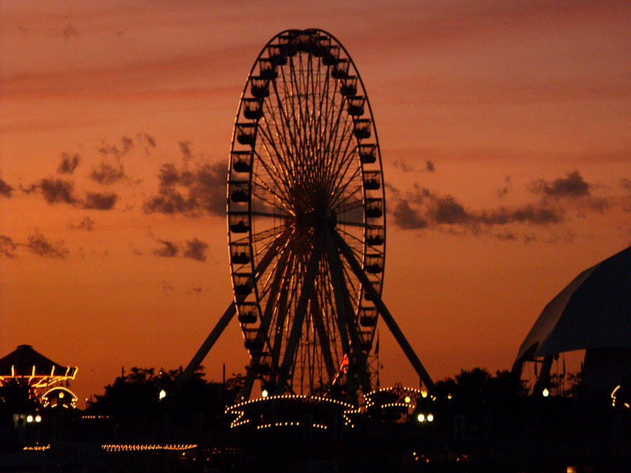 Chicago Photograph - Navy Pier At Sunset by Jean Gugliuzza