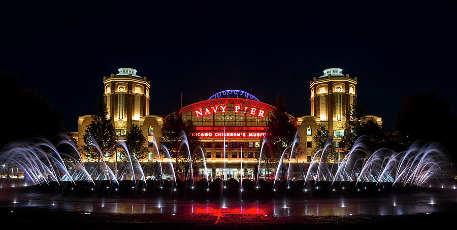 Navy Pier Fountains At Night Photograph