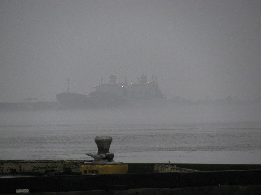 Ships Photograph - Navy Ships In The Fog by Tom Hefko