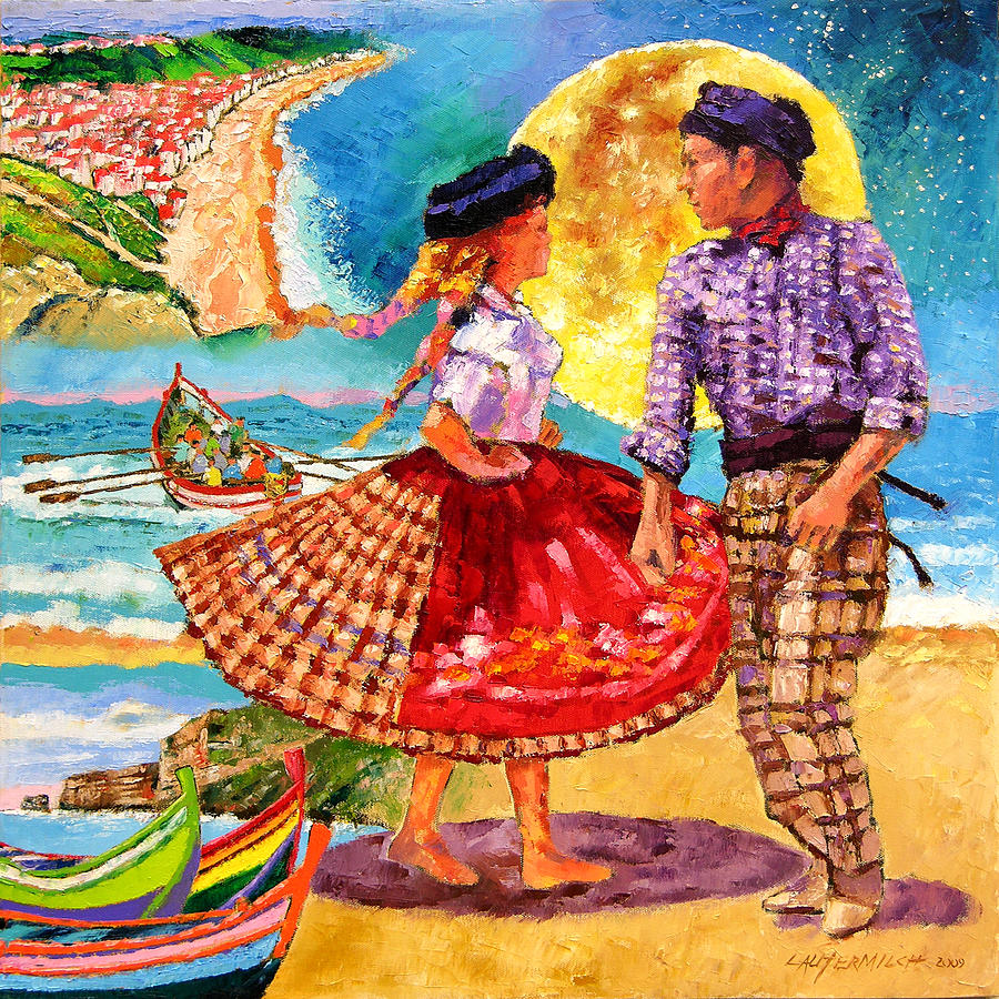 Dancers Painting - Nazare Portugal by John Lautermilch
