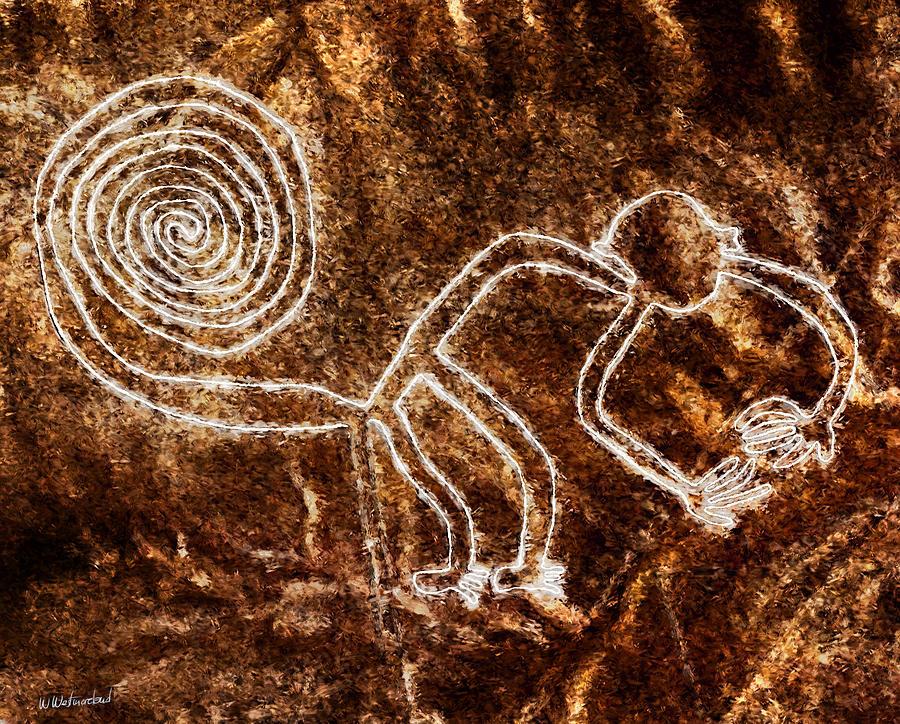 Nazca Painting - Nazca Monkey by Weston Westmoreland