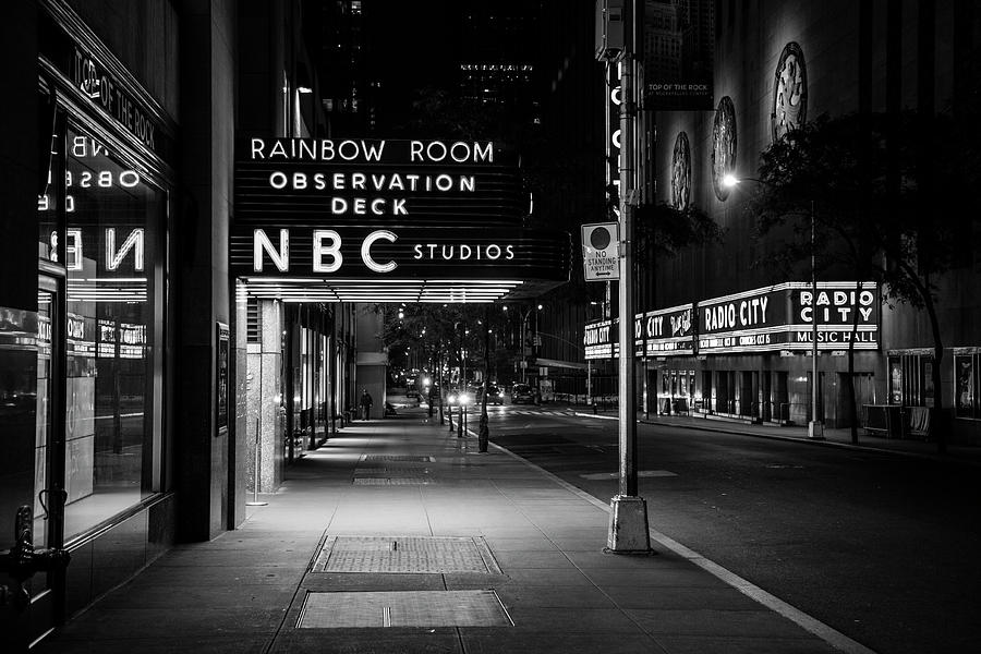 Nbc Studios Rockefeller Center Nyc Black And White Photograph By John Mcgraw