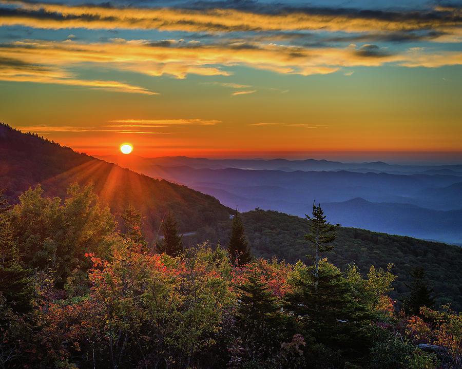 NC Mountain Sunrise Blue Ridge Mountains by Mike Koenig