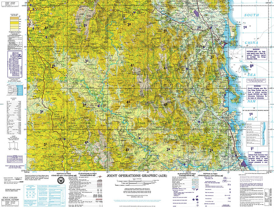 Nd4909 Qui Nhon Joint Operations Graphic Air Topographic Map