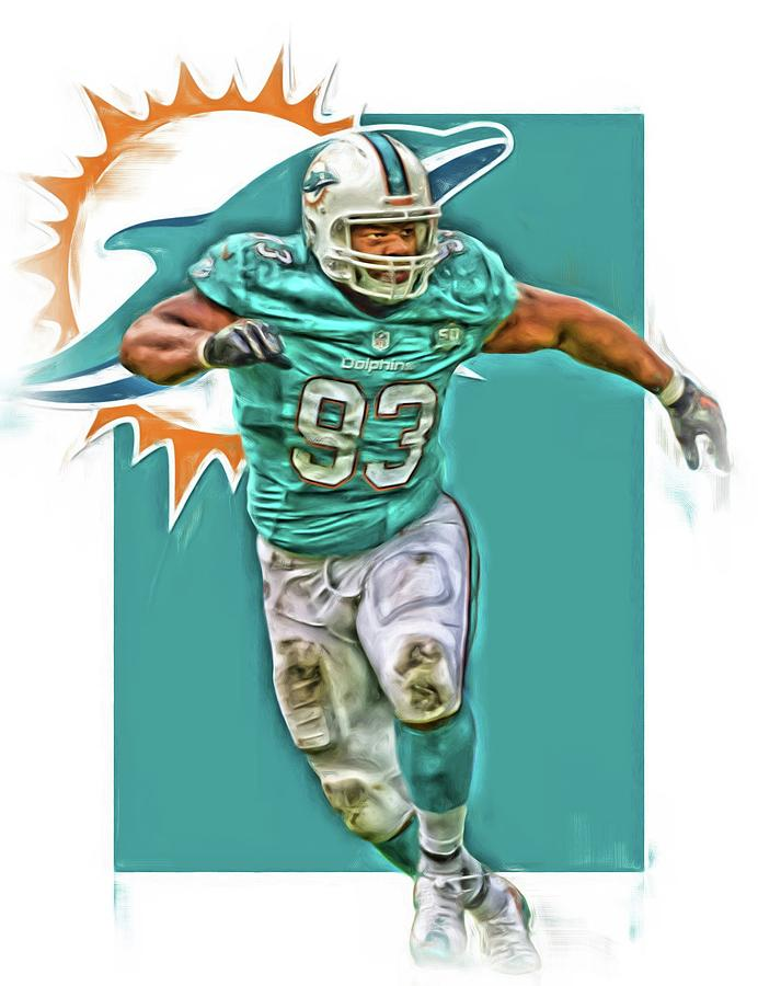 Dolphins Mixed Media - Ndamukong Suh Miami Dolphins Oil Art by Joe Hamilton