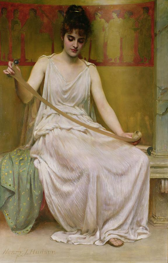 Neaera Painting - Neaera Reading A Letter From Catullus by Henry John Hudson