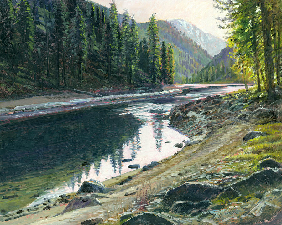 River Painting - Near Horse Creek by Steve Spencer