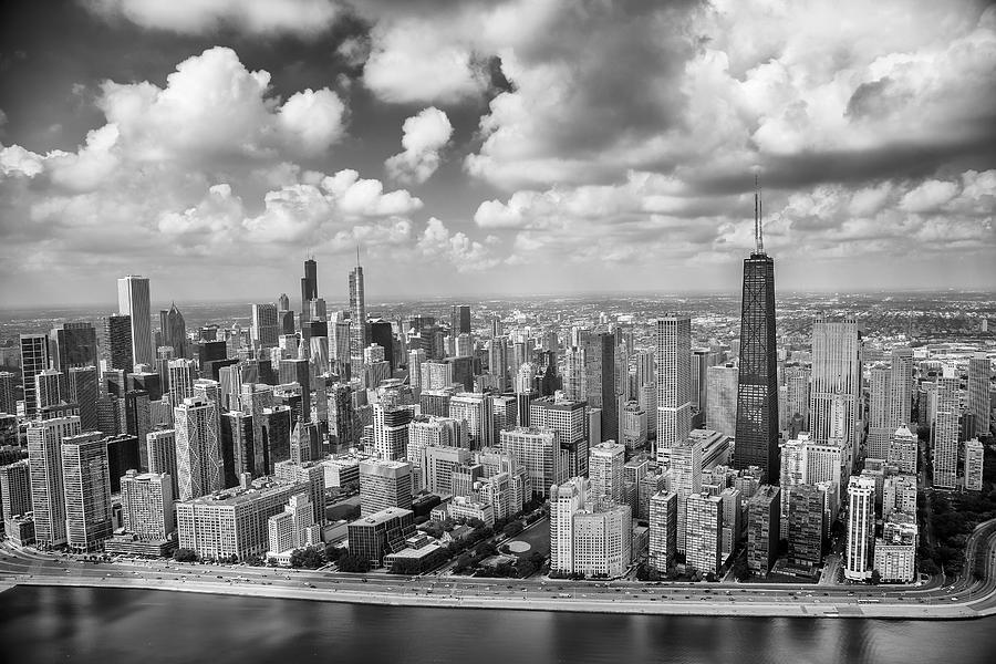 3scape Photograph - Near North Side And Gold Coast Black And White by Adam Romanowicz