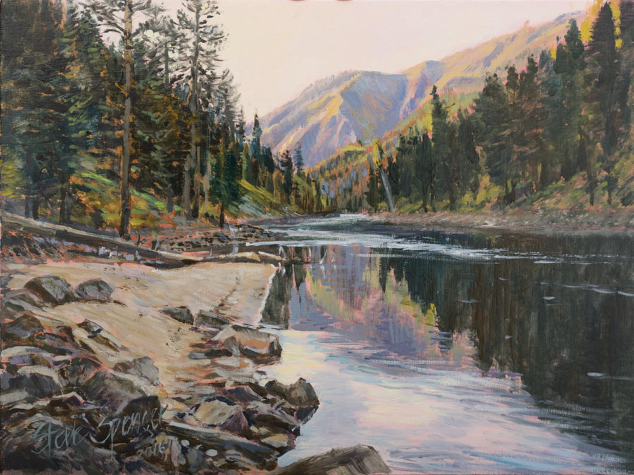 River Painting - Near Smith Gulch by Steve Spencer